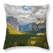 Yosemite Valley Throw Pillow by Sarit Sotangkur