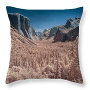 Yosemite Vally In Infrared Throw Pillow