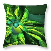 You Are Here --  Events Conspire -- Green Throw Pillow