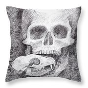 You Are What You Eat Skull Drawing Throw Pillow