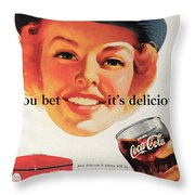 You Bet It's Delicious - Coca Cola Throw Pillow by Georgia Fowler