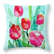 You Enlighten Me- Painting Of Tulips Throw Pillow