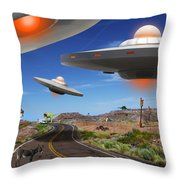 You Never Know What You Will See On Route 66 2 Throw Pillow by Mike McGlothlen