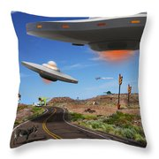 You Never Know What You Will See On Route 66 Throw Pillow by Mike McGlothlen