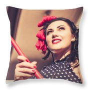 Young 50s Brunette Housewife Holding Red Mop Throw Pillow