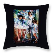 Young Ballerinas - Palette Knife Oil Painting On Canvas By Leonid Afremov Throw Pillow