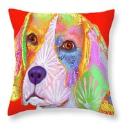 Young Beagle  Throw Pillow