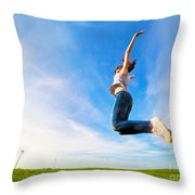Young Beautiful Woman Jumping For Joy Throw Pillow