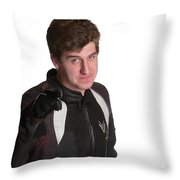 Young Biker Pointing Throw Pillow