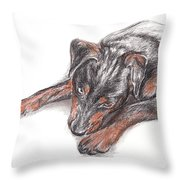 Young Black Dog Portrait Throw Pillow