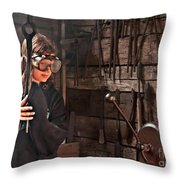 Young Blacksmith Girl Art Prints Throw Pillow