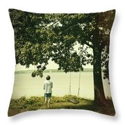 Young Boy Looking Out At The Water Under A Big Tree Throw Pillow