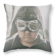 Young Boy Pilot. Battle Ready Throw Pillow