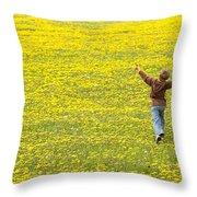 Young Boy Running Through Field Of Throw Pillow