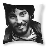 Young Bruce Springsteen Throw Pillow