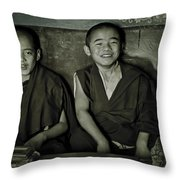 Young Buddhist Monks Throw Pillow