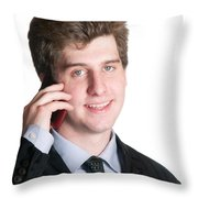 Young Business Man On The Cell Phone Throw Pillow