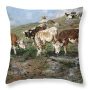 Young Cattle In Tyrol Throw Pillow