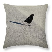 Young Cawing Crow Throw Pillow