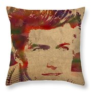 Young Clint Eastwood Actor Watercolor Portrait On Worn Parchment Throw Pillow