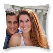 Young Couple Bridge Throw Pillow