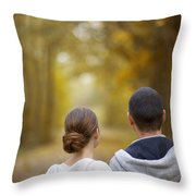 Young Couple Looking Ahead Throw Pillow