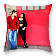 Young Couple Red Doors Throw Pillow