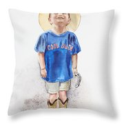 Young Cowboy  Throw Pillow