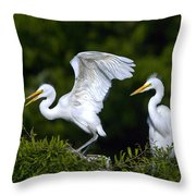 Young Egret Spreading His Wings Throw Pillow
