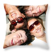Young Friends Together Throw Pillow