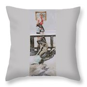 Young Gallery Visitor Throw Pillow