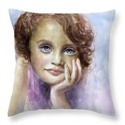 Young Girl Child Watercolor Portrait  Throw Pillow by Svetlana Novikova