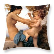 Young Girl Defending Herself Against Cupid Throw Pillow