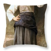 Young Girl Going To The Fountain Throw Pillow