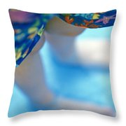 Young Girl Standing In Pool Throw Pillow