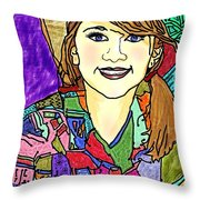 Young Girl With Cowboy Hat Throw Pillow