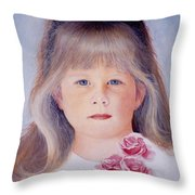 Young Girl With Roses Throw Pillow