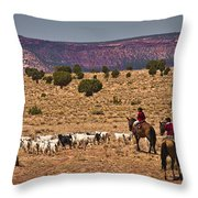 Young Goat Herders Throw Pillow by Priscilla Burgers