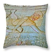 Young God-figure On Wall In Angkor Wat In Angkor Wat Archeological Park Near Siem Reap-cambodia Throw Pillow