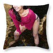 Young Hispanic Woman In Creek Throw Pillow
