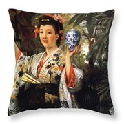Young Japanese Lady Throw Pillow