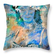young lady in Papeete Throw Pillow