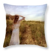 Young Lady In Vintage Clothing Watching A Biplane Throw Pillow