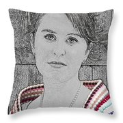 Young Lady With Multicolored Shawl Throw Pillow