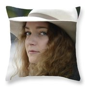Young Lady With White Hat 1 Throw Pillow