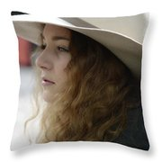 Young Lady With White Hat 2 Throw Pillow
