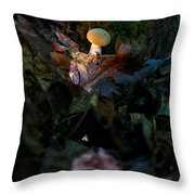 Young Lonely Mushroom Throw Pillow