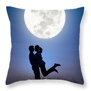 Young Lovers Embracing Before A Full Moon Throw Pillow