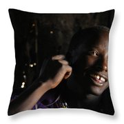 Young Maasai Warrior In The Village Throw Pillow