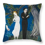 Young Man In Black. Girl In White Throw Pillow